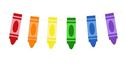 Crayon clipart school.  tall banner garland