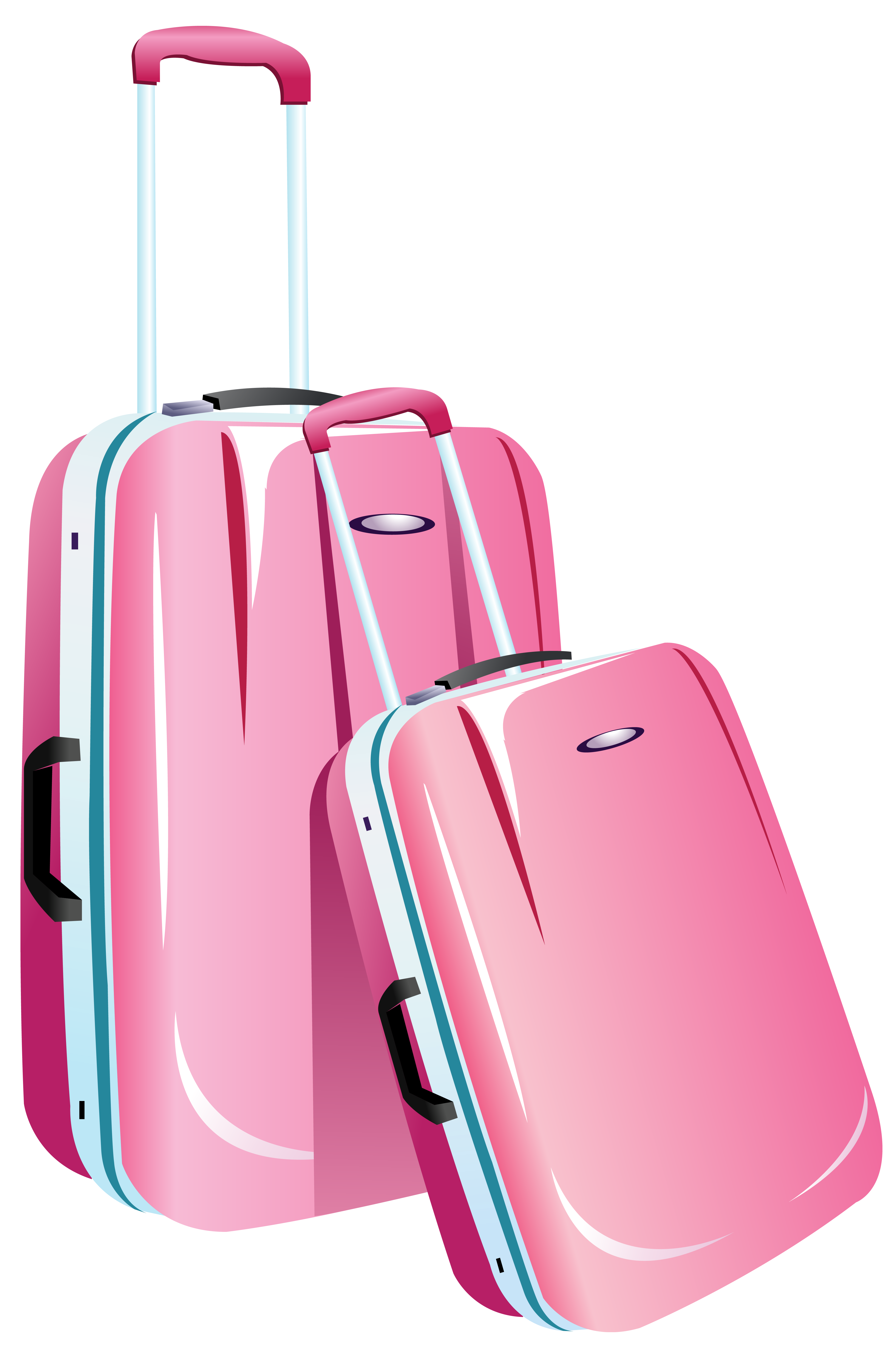 Luggage clipart lugagge. Pink travel bags png