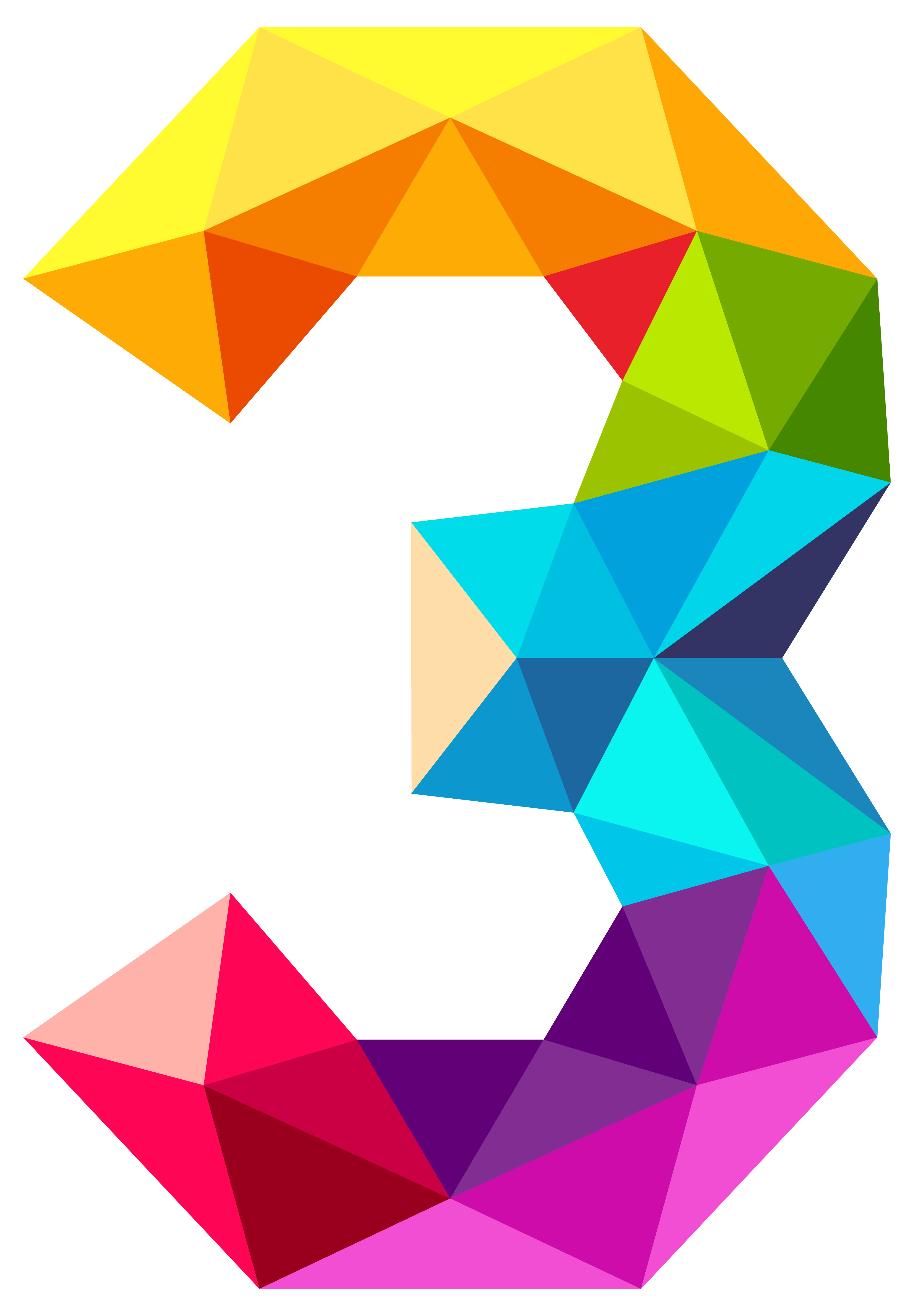 Triangles number three png. Door clipart colourful