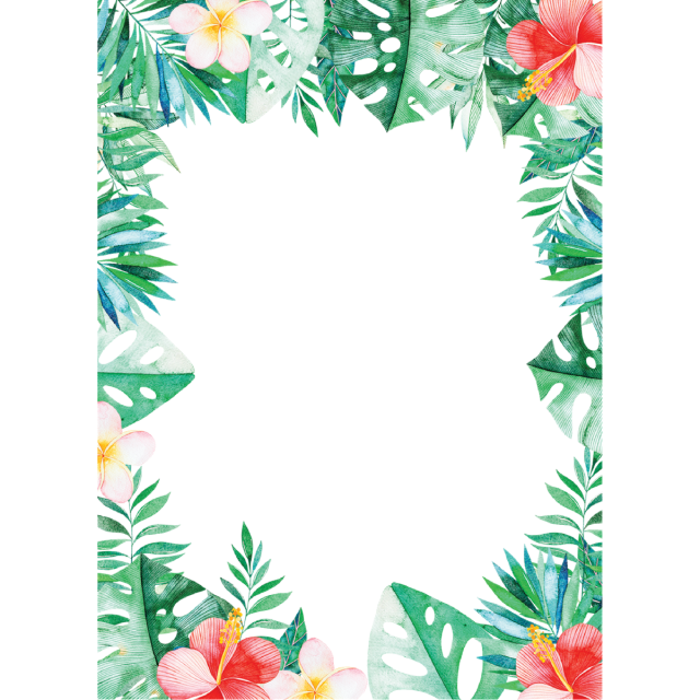 Leaves and psd file. Tropical border png