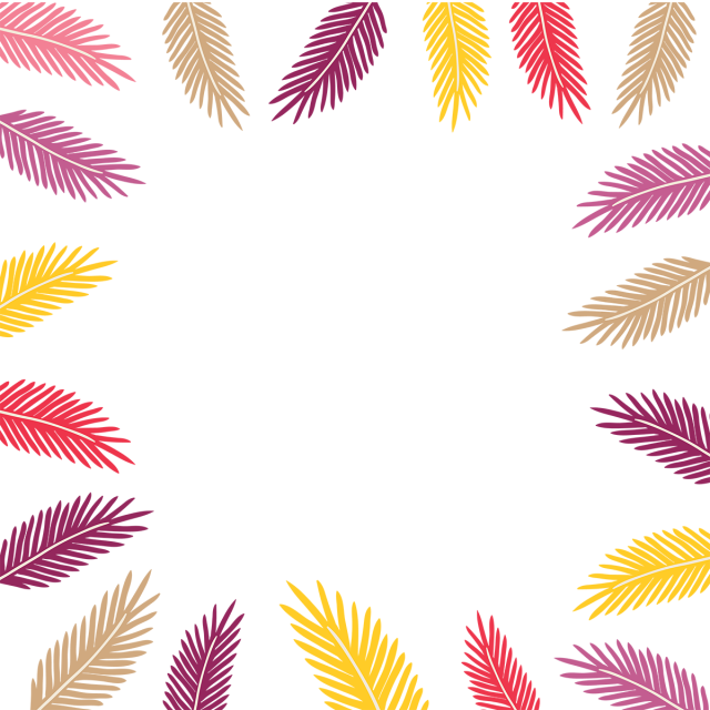 Leaves border png. Colored tropical borders frame