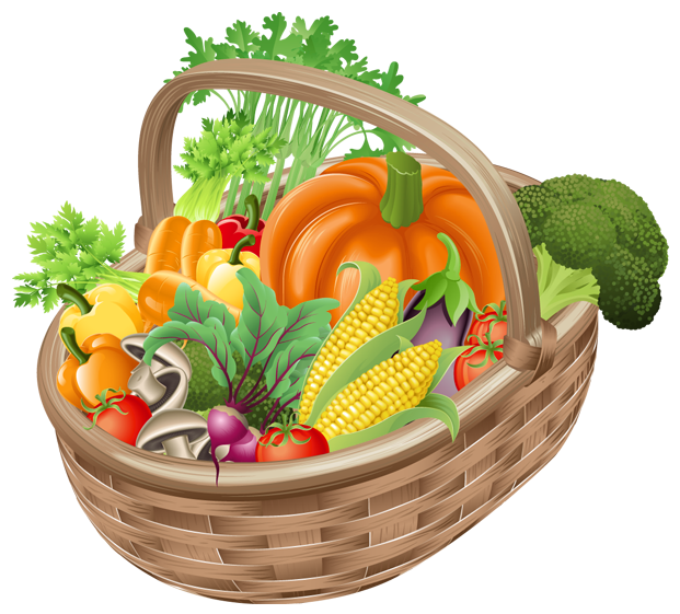 Heart clipart vegetable. Basket with vegetables png