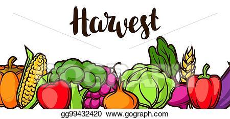 Clipart vegetables banner. Clip art vector harvest