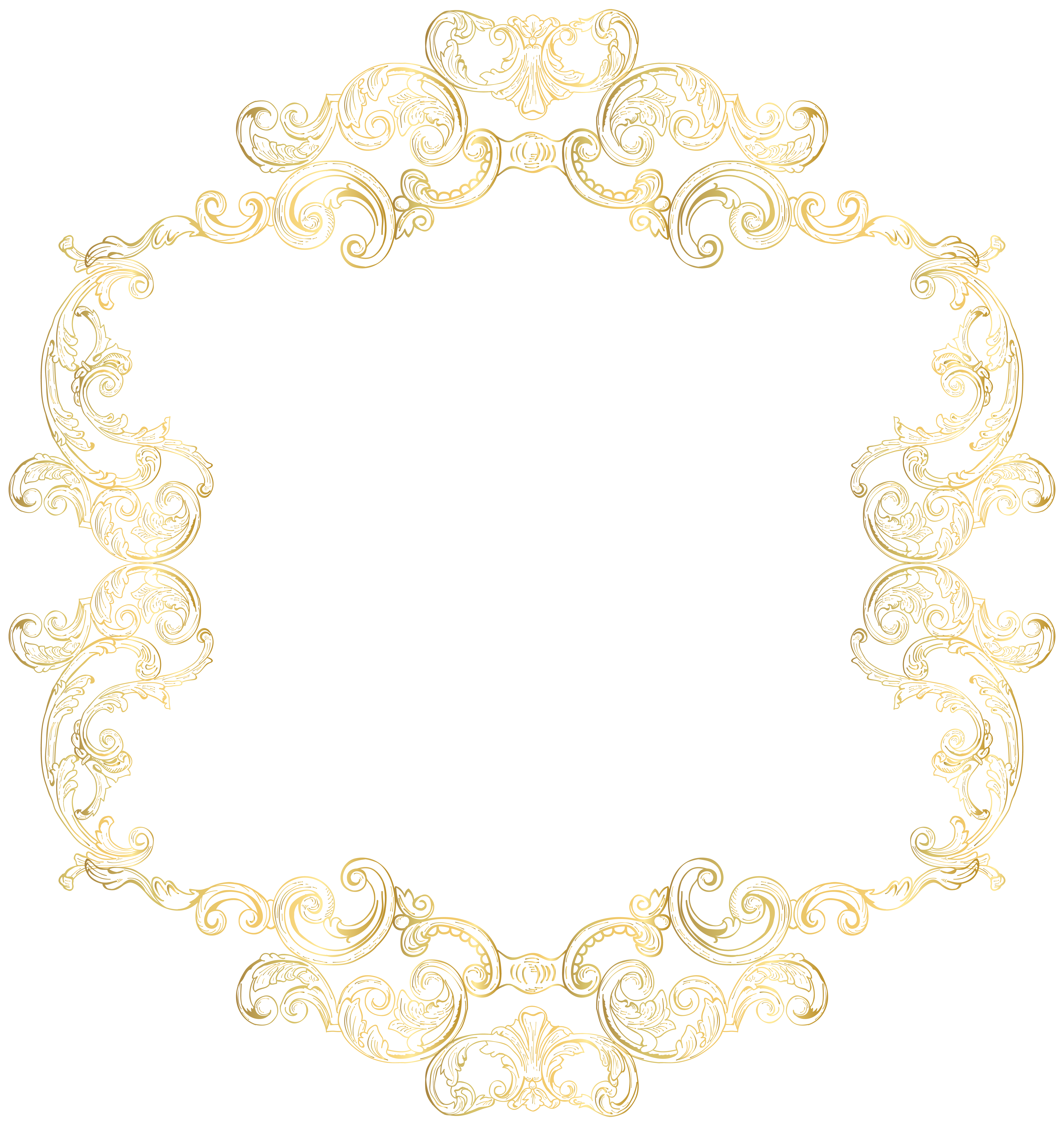 Vintage gold frame png. Border clip art image