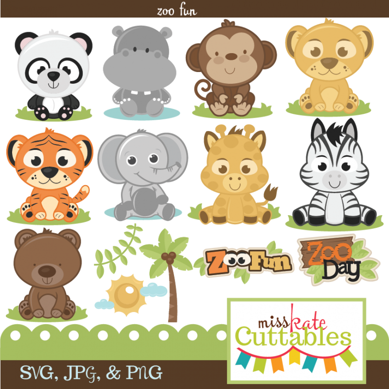 Miss kate cuttables zoo. Scrapbook clipart free baby