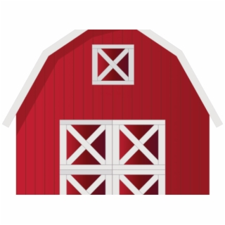 Open red farm house. Clipart barn barn door