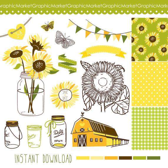Sunflowers mason jars and. Clipart barn barn wedding