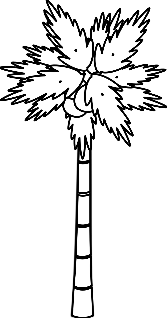 Coconut clipart two tree. Black and white picture