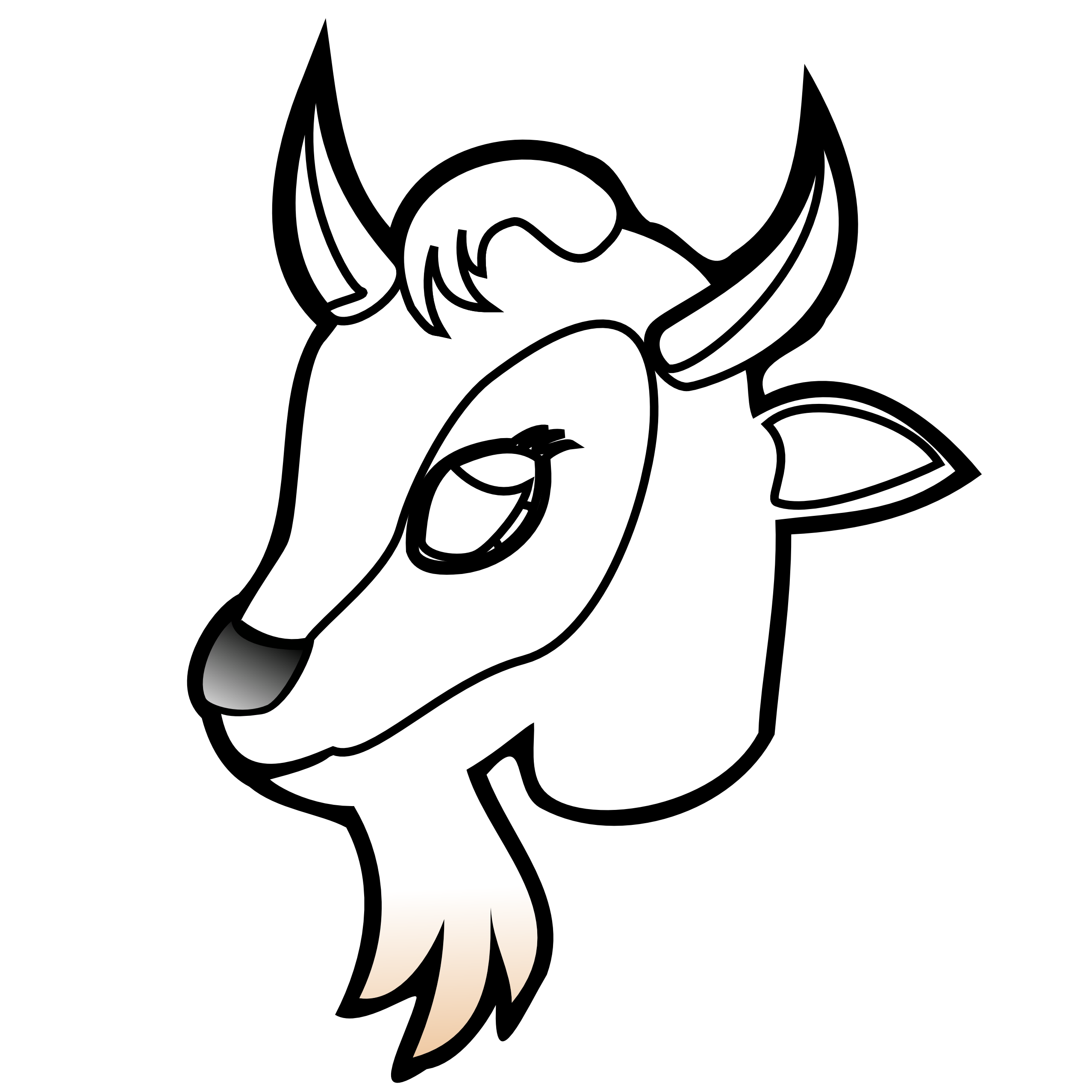 Black and white goat. Horn clipart cartoon