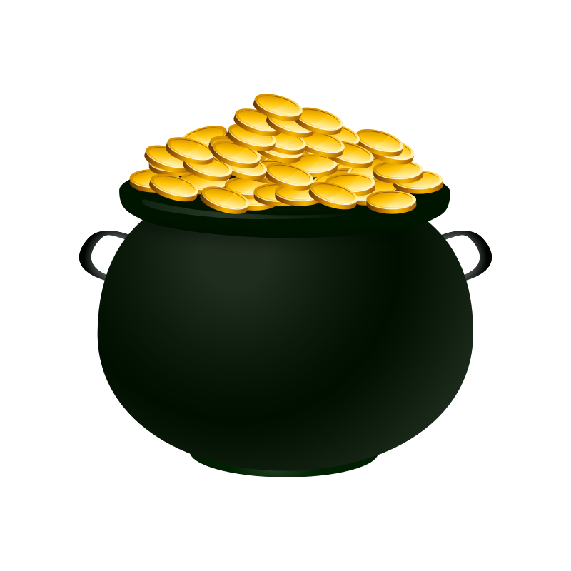 Delivered pot of gold. Coins clipart animated