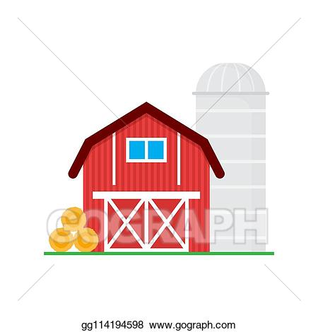 Vector art red wooden. Clipart barn different building