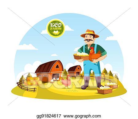 Vector cartoon farmer man. Farming clipart person