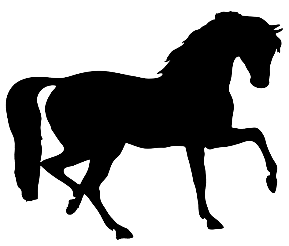 Horse silhouette crafts shape. Clipart barn equine
