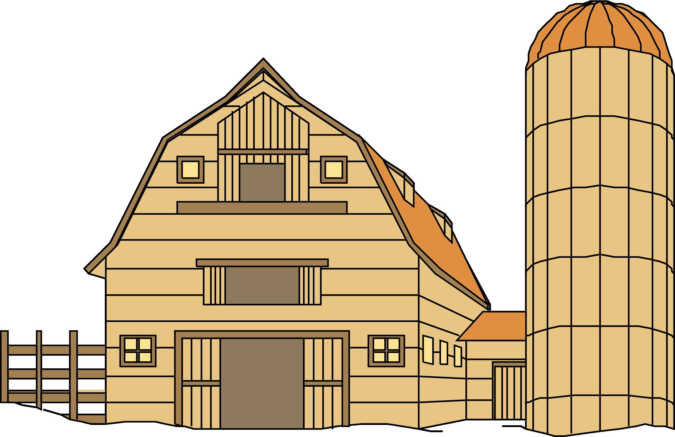 Farmhouse clipart farm house. Silo barn clip art