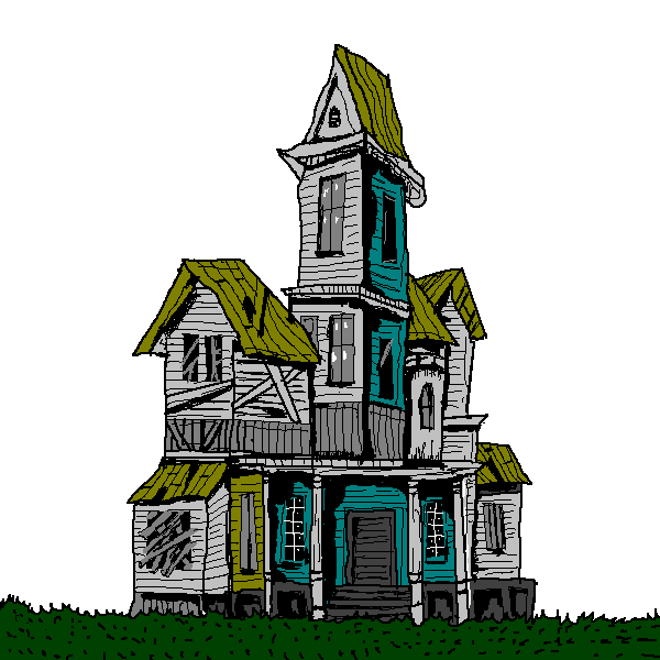 Old house spooky pencil. Tower clipart haunted