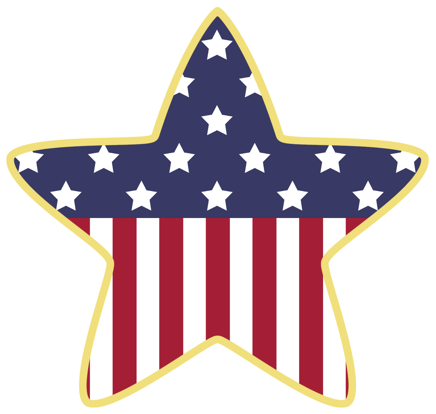 American star decoration png. Clipart bear patriotic