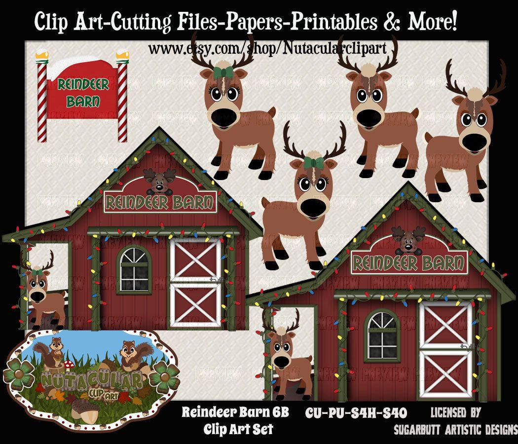 Clip art set b. Clipart reindeer barn