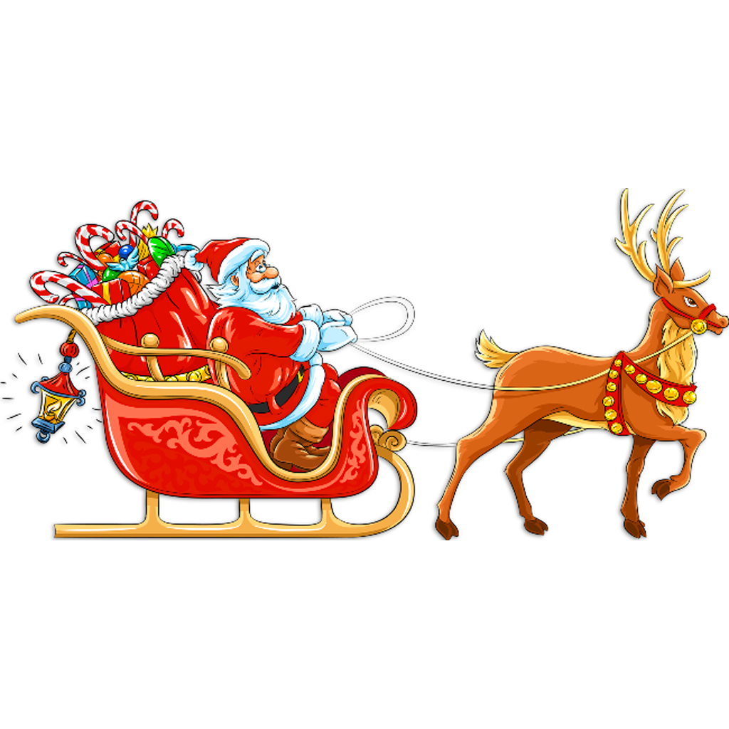 In for cut out. Sleigh clipart santa s