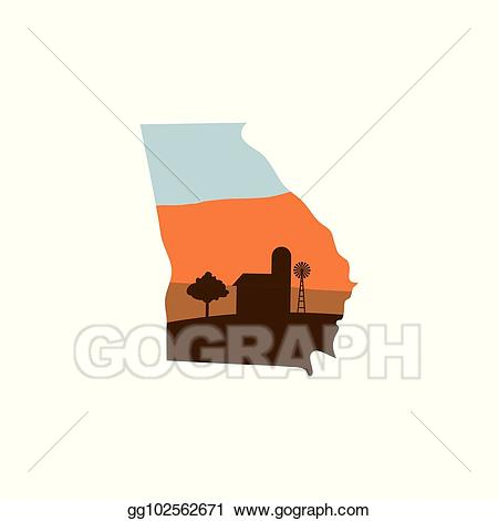 Georgia clipart shape. Vector state with farm