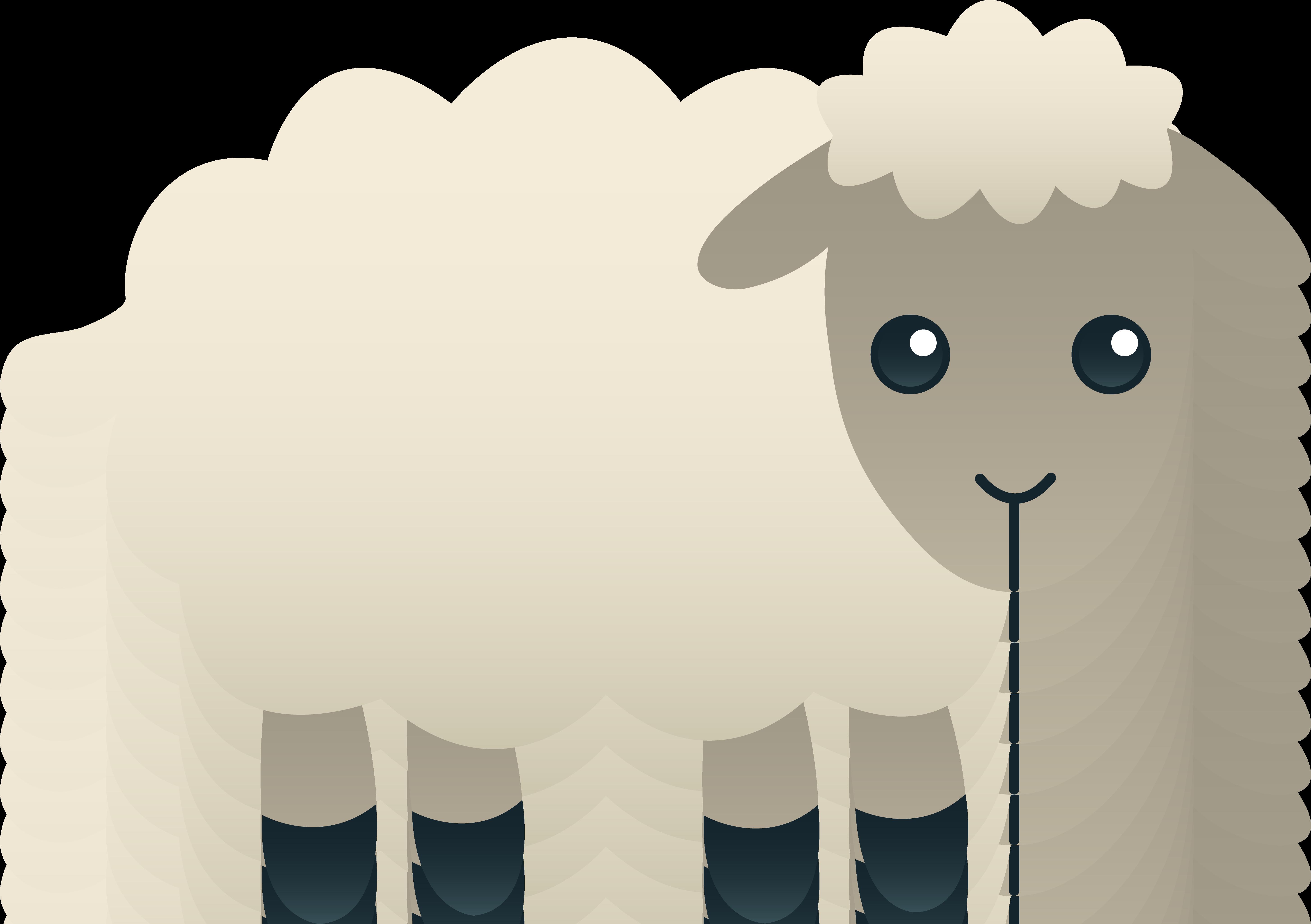 Fluffy white sheep aiti. Clipart spring lamb