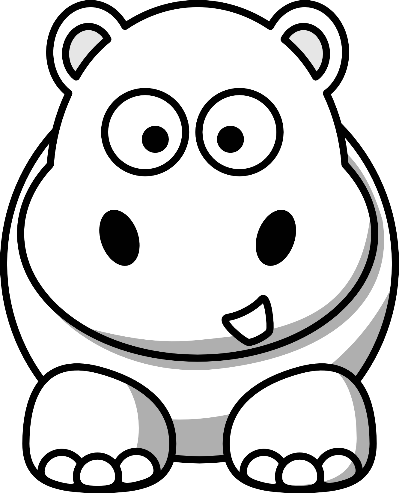 Clip art black and. Hippo clipart mask