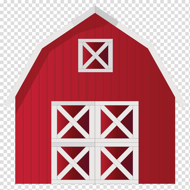 Red and white house. Clipart barn transparent background