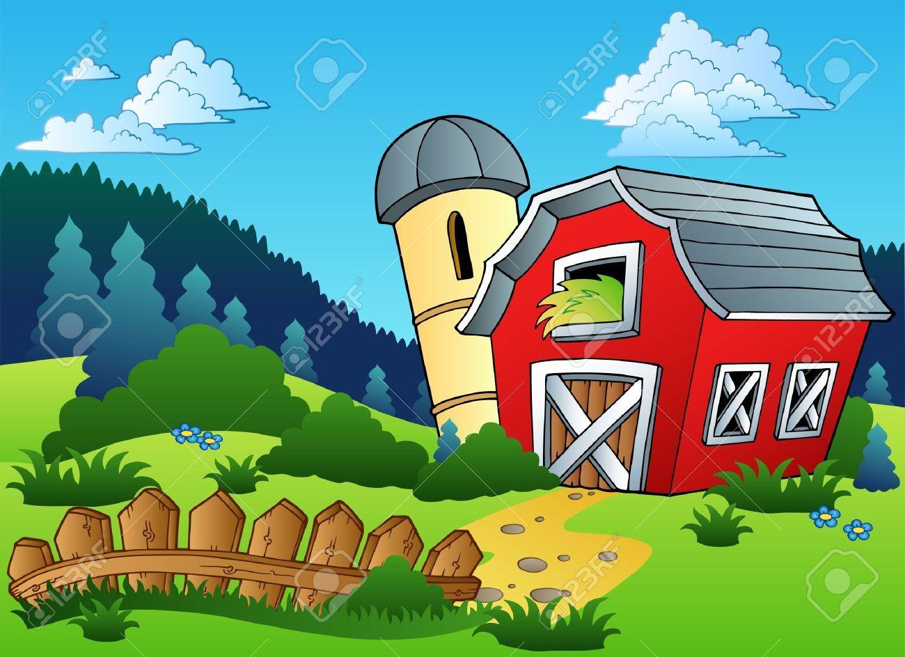 Resultado de imagen para. Farmhouse clipart farm landscape