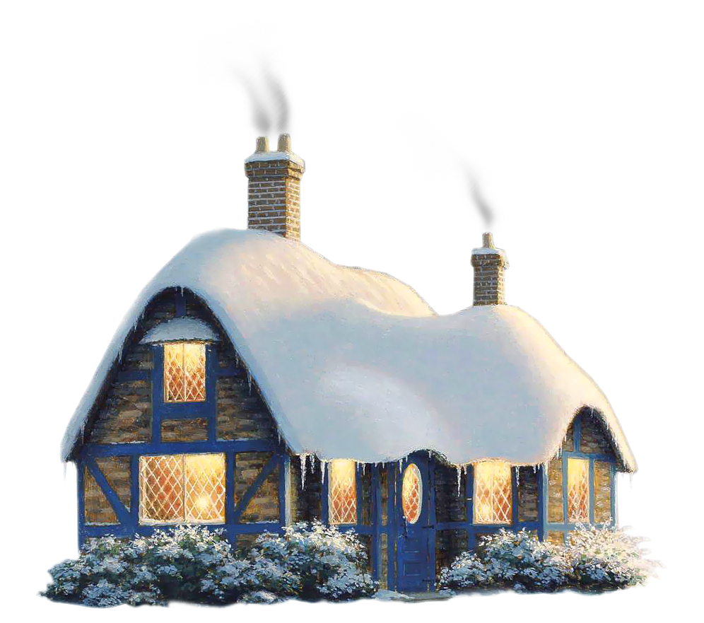 Transparent snowy winter house. Hotel clipart pink building