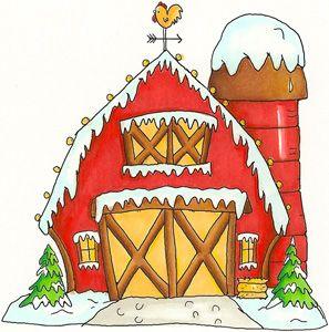 Winter barn ly printables. Clipart farm christmas