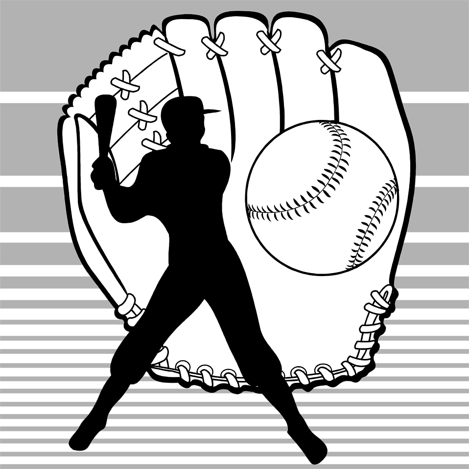 Silhouette clipart baseball. Free stock photo illustration