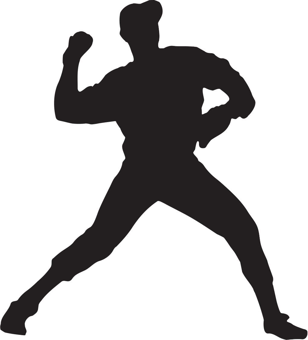 Player at getdrawings com. Silhouette clipart baseball