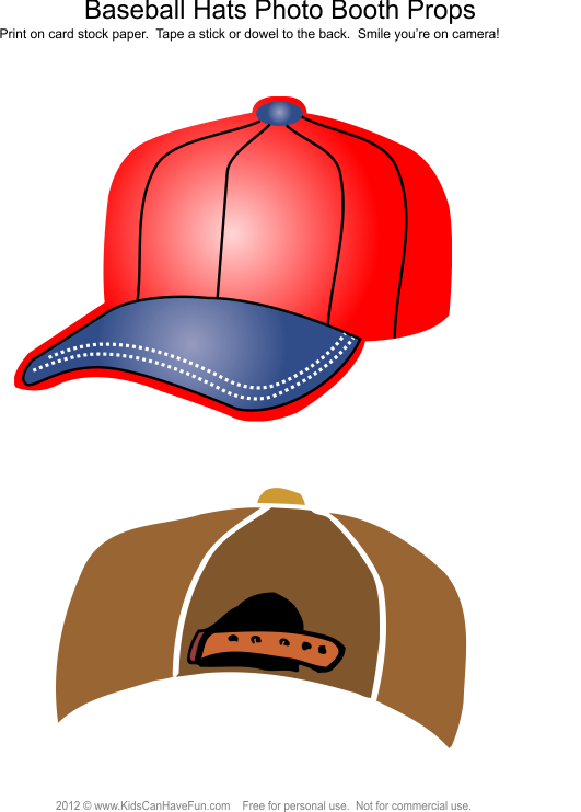 Hats photo booth props. Clipart baseball bean bag