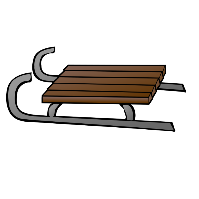 Image result for drawing. Sleigh clipart wooden sled