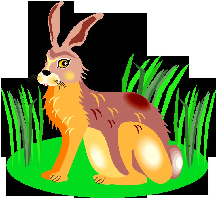 clipart grass bunny