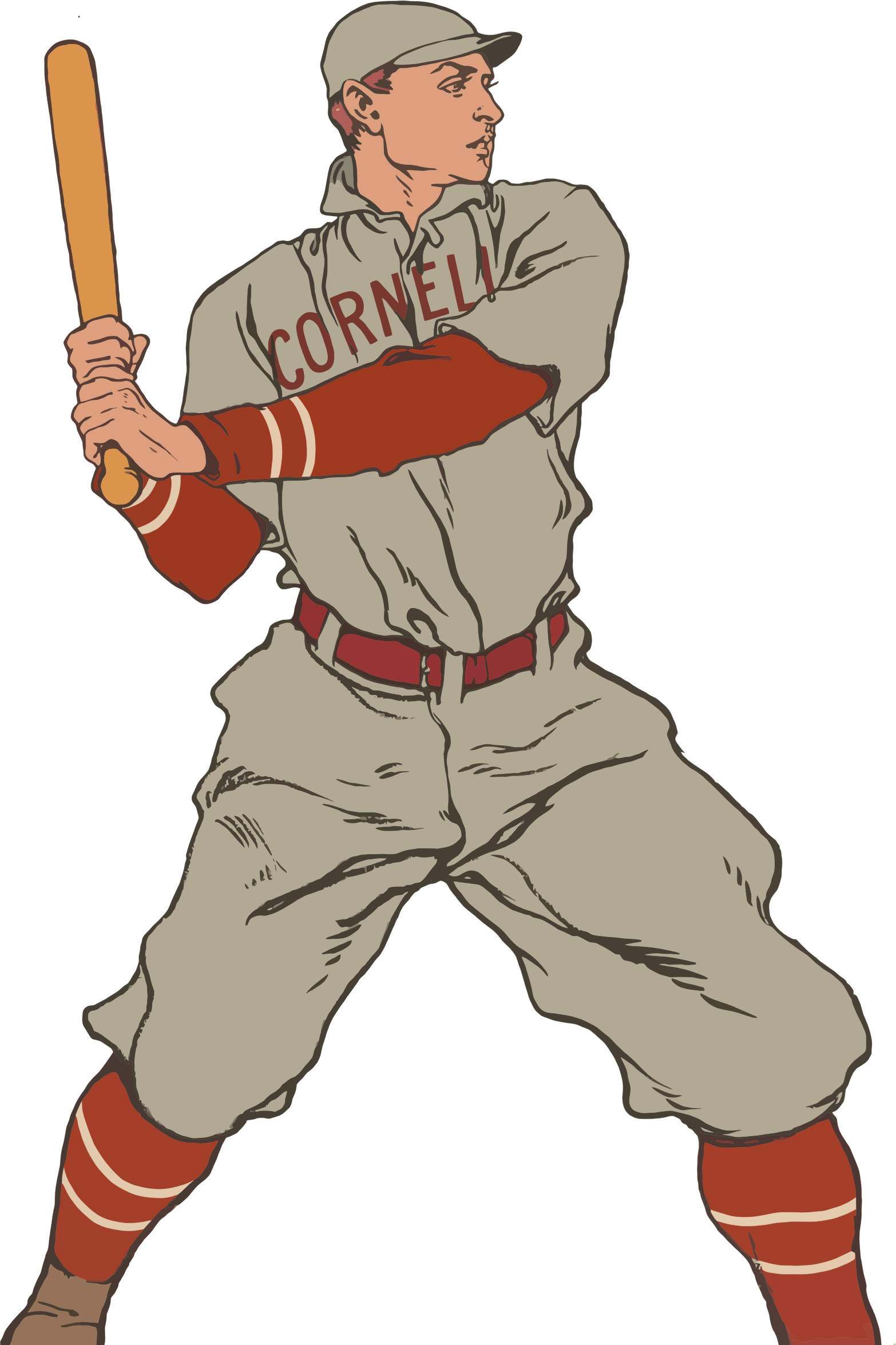 Vintage player big image. Person clipart baseball