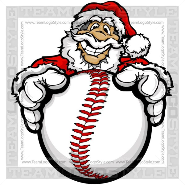 Christmas vector . Santa clipart baseball