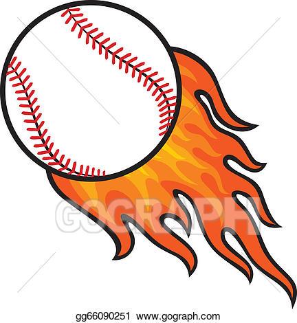 Clipart flames baseball. Vector illustration ball in