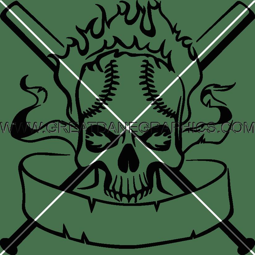 Skull crest production ready. Clipart flames baseball