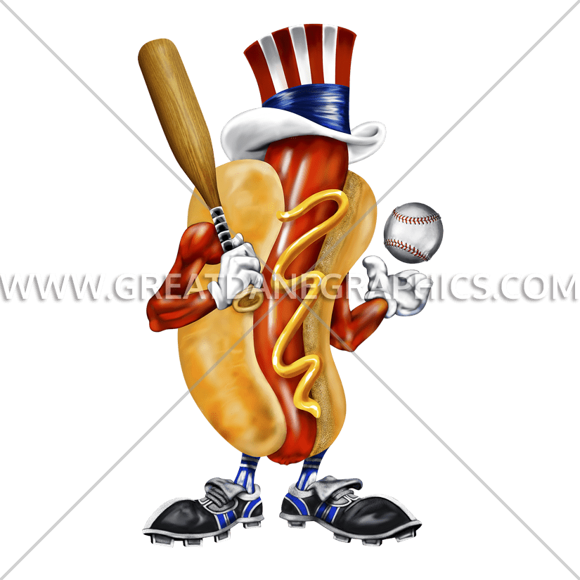 Hotdog production ready artwork. Foods clipart baseball