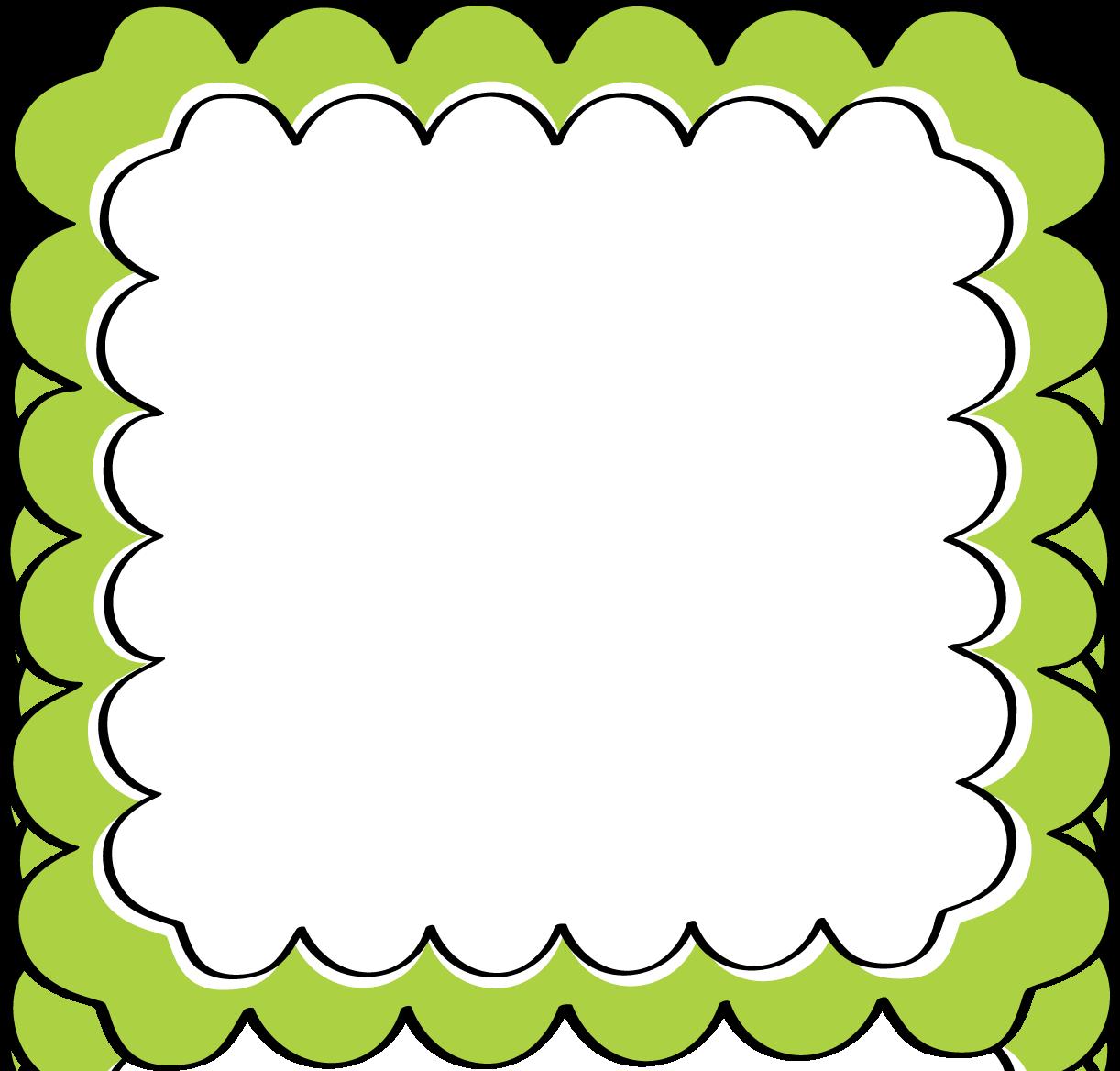 Scalloped . Frame clipart green
