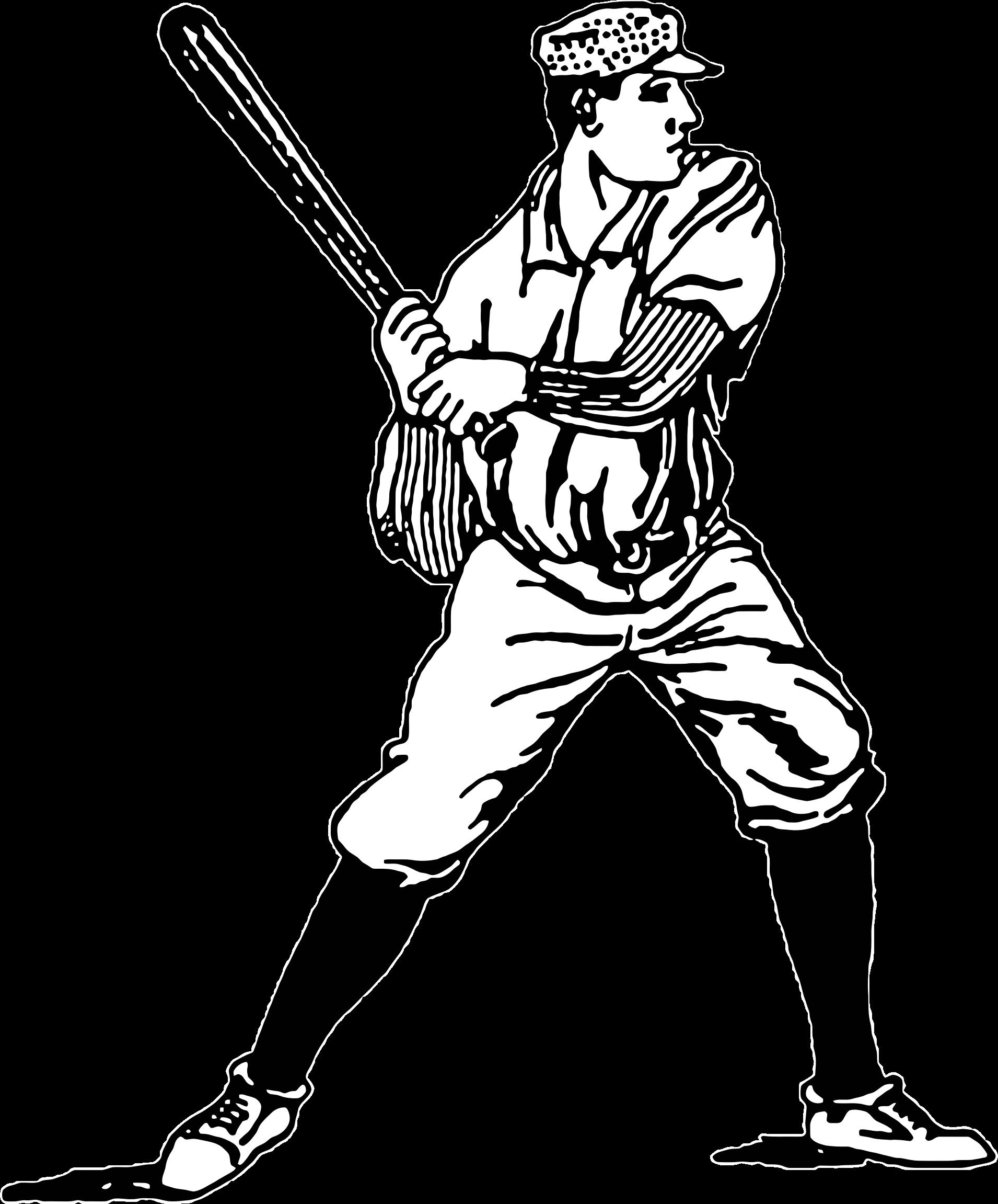 Vintage player illustration big. People clipart baseball