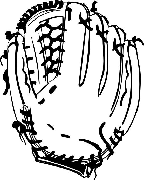 Baseball glove black and. Stitch clipart softball
