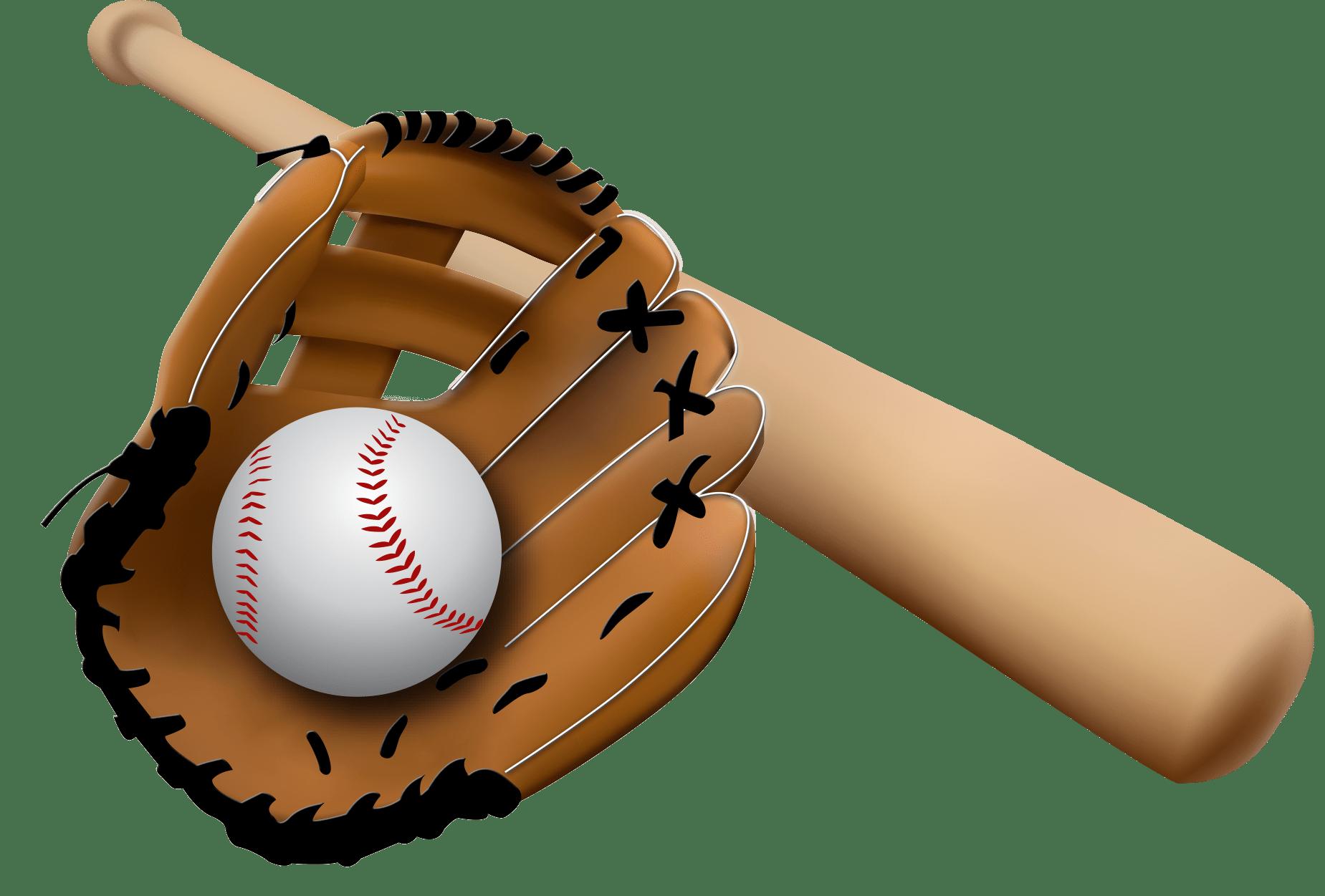 Gloves clipart transparent background. Baseball glove and bat