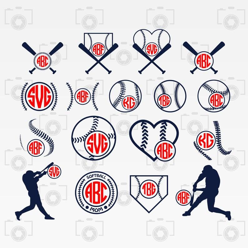 Clipart baseball monogram. Svg softball digital for