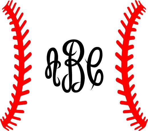 Laces svg frame silhouette. Clipart baseball monogram
