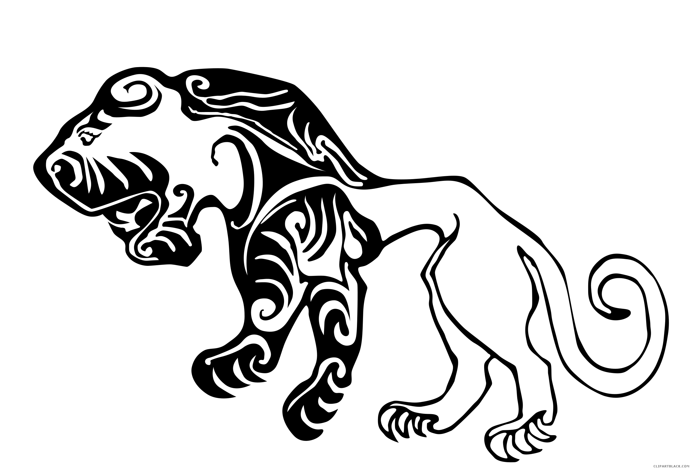 Clipart tiger black and white. Animal free images clipartblack