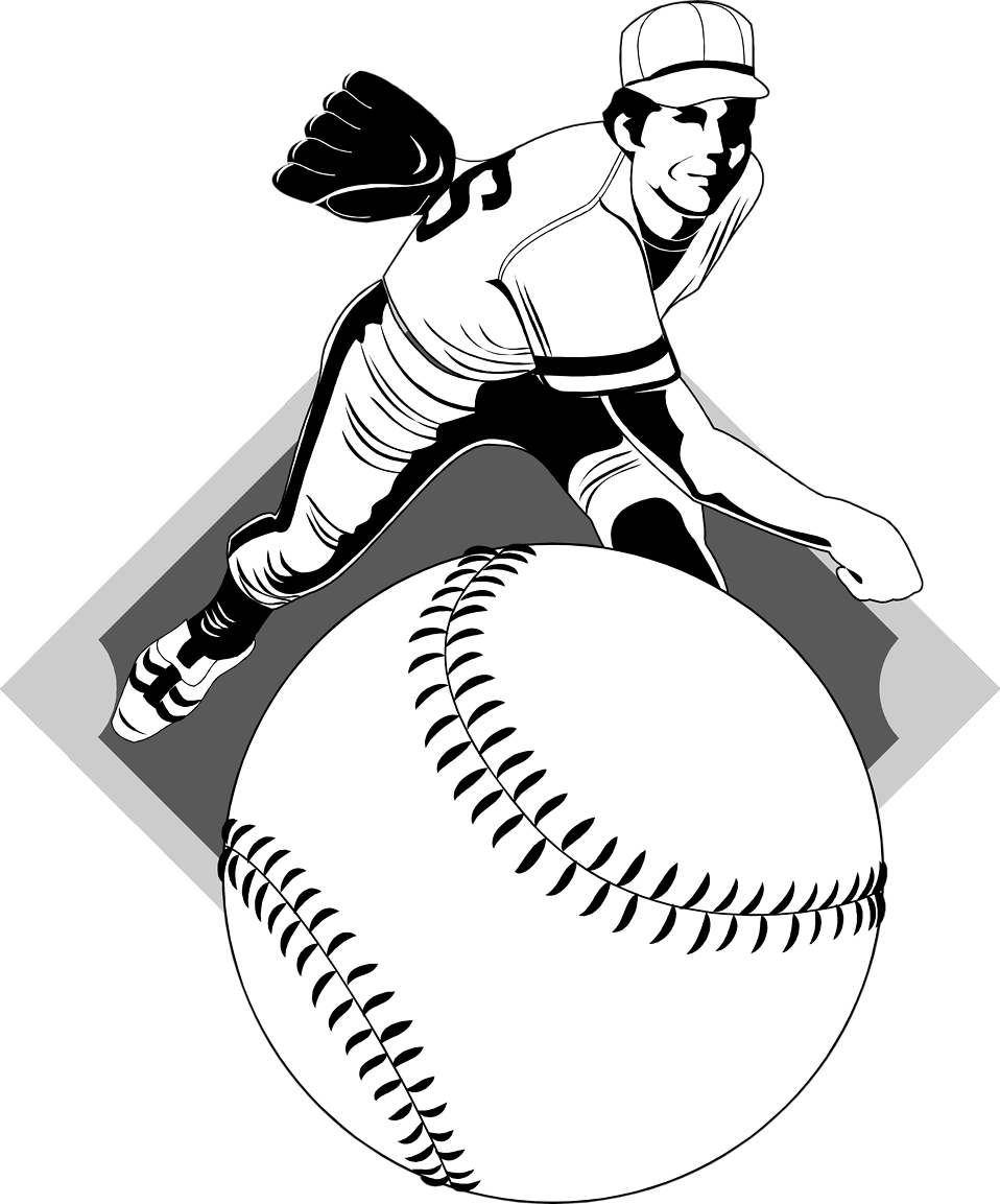 Free stock photo illustration. People clipart baseball
