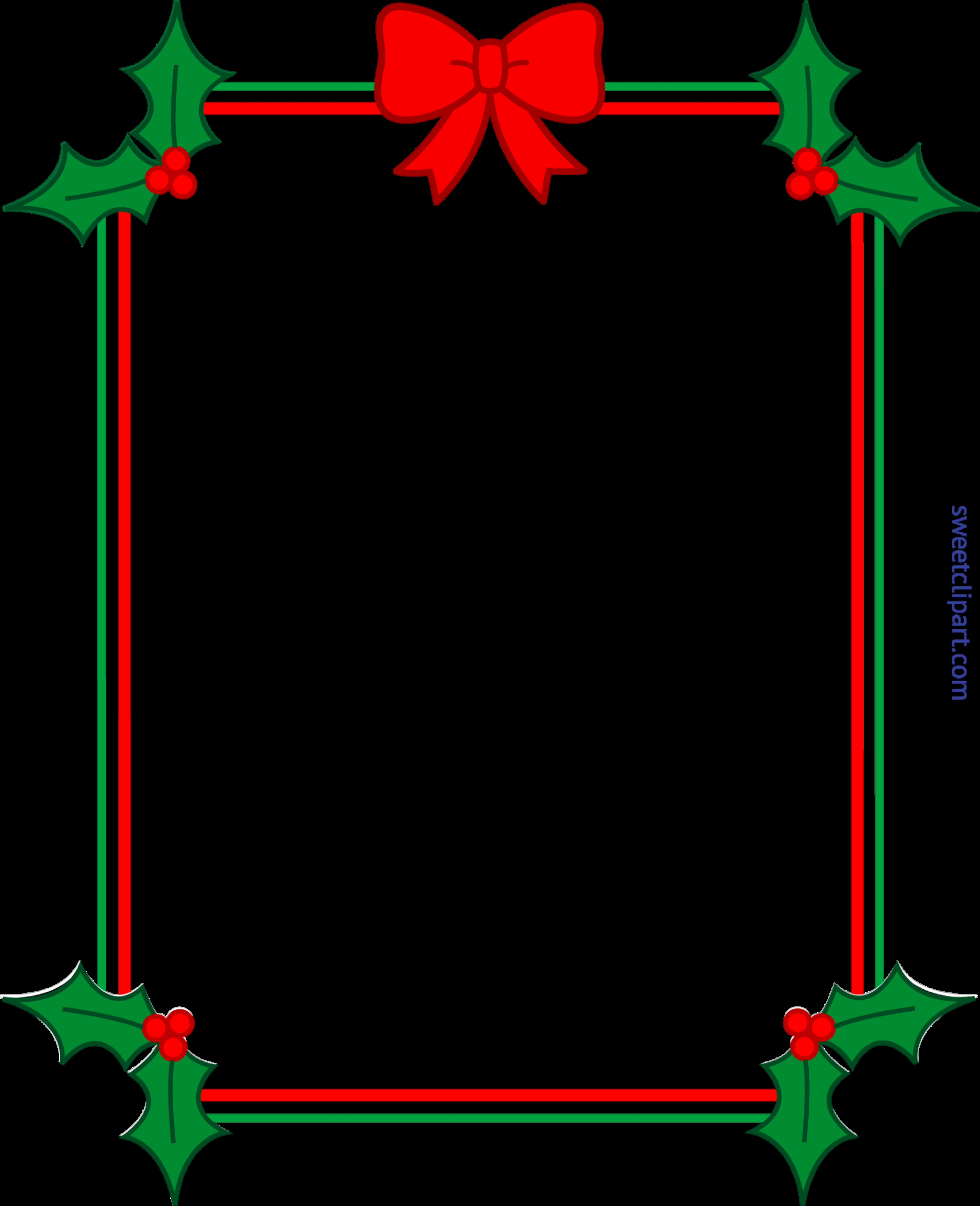 Christmas border frame ribbon. Holly clipart email