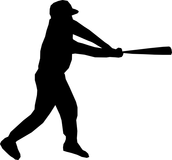 Stitch clipart softball. Baseball player silhouette clip