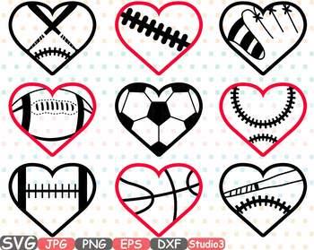 Clipart football valentines. Sports heart balls baseball